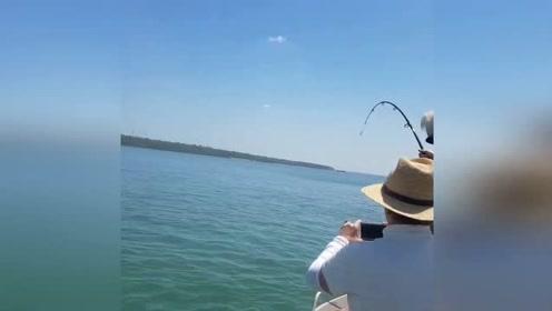 乘游艇垂钓以为钓到大鱼 下秒竟拉起巨鳄急忙剪断鱼线