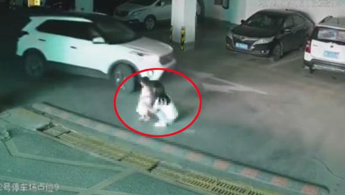 母女地下车库遭越野车两次碾压致2岁幼女身亡 监拍惊险一幕