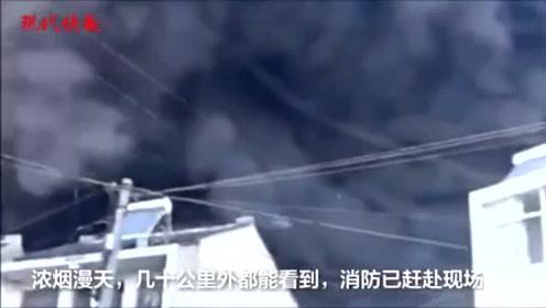 """常州一公司仓库着火,消防呼吁人群""""让路"""""""