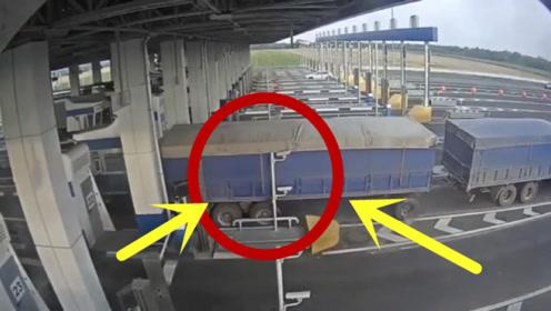 大货车收费站蹭卡,报应来的太快!当场被教训!