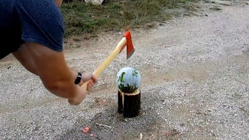 液氮冰冻的西瓜能被劈开吗?实验结果一起来看看