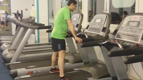 健身房里的挑战,跑步机上男子开启极速,速度达到25 km/h