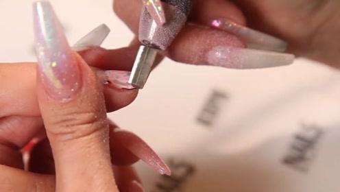 用这么锋利的打磨机卸指甲,怪不得指甲瞬间薄了一半!