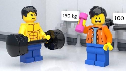 乐高男孩去健身,却总是误伤其他人,最后吓得赶紧逃跑了!