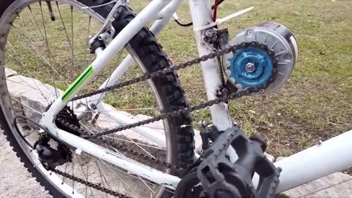 买不起电动车怎么办?牛人教你用自行车改造一辆,这技术服了