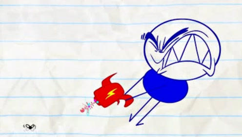 铅笔人拿枪对准了小蜜蜂,不料自己却被打飞了,最后越来越惨