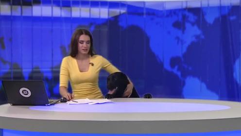 """俄罗斯新闻女主持,直播间闯入""""不速之客"""",因此创下最高收视!"""