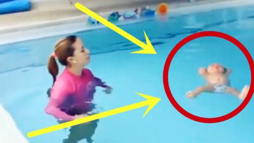 宝宝学游泳一直呛水,妈妈没有任何反应,国外教育方式真独特!