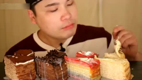 吃货胖哥吃甜点蛋糕,吃相还真优雅,明显跟吃肉不一样了!