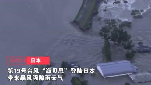 台风海贝思强袭日本 多辆新干线列车泡水