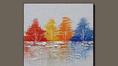 """抽象画真的很难吗?牛人草草几笔,""""冰雪中的枫树林""""展现在眼前!"""