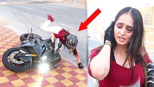 都说女生不适合骑大排摩托车,美女不信邪,教训很惨痛!