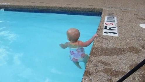 刚出生宝宝独自下水游泳,本以为是青铜,没想到却是个王者!