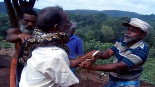 现实版农夫与蛇!男子欲救3米长蟒蛇反被锁喉