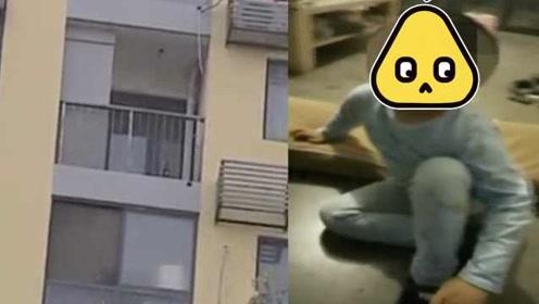 济南男童半夜翻栏杆找爸妈被挂8楼阳台外侧,民警路过徒手营救