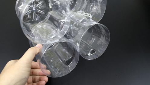 4个塑料瓶立起来,放在桌面存放东西真不错,方法简单还实用