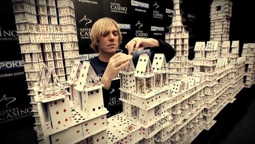 小伙用22万张扑克搭出三座建筑,成全球最大的扑克牌建筑