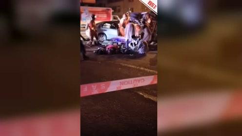 广东潮州一轿车凌晨撞翻道路清洁车 致4死1伤