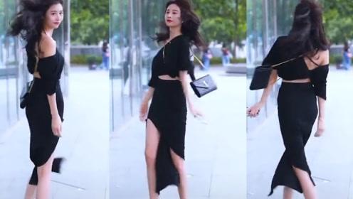 黑色的时尚单肩短袖,配黑色的飘逸长裙,小姐姐这气质绝了!