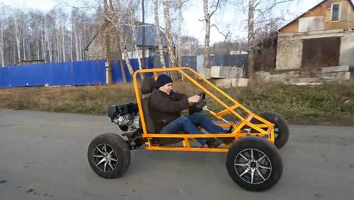 农民,自己造了一辆卡丁车,系统动力不是一般车能比的