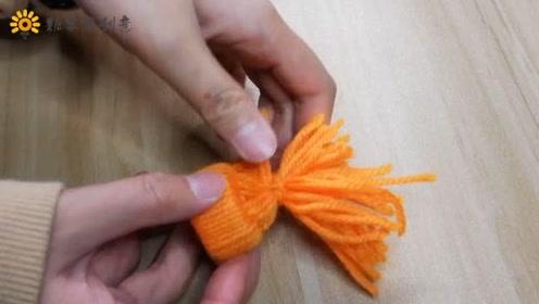 用毛线团和塑料瓶盖做的小饰品,又简单又好玩!
