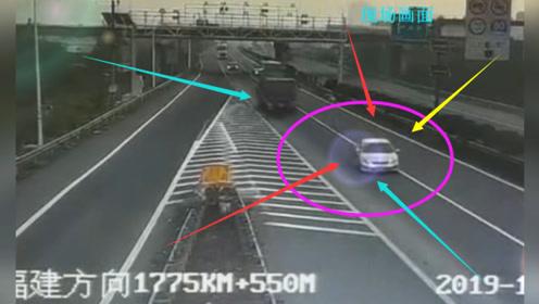 沈海高速一轿车走错路突然变道并停下后车避让失控冲出路面 所幸无人伤亡