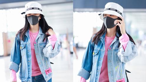 娄艺潇不理传闻现身机场 穿牛仔外套内搭粉T清新减龄
