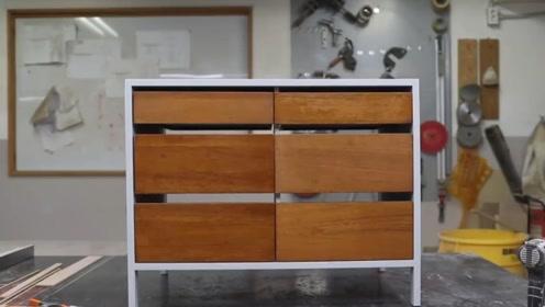 木工师傅制造一个简易木柜,这手艺太赞了,真羡慕这套工具