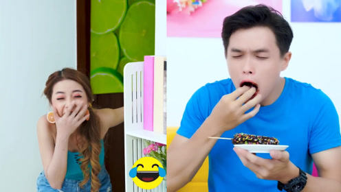 国外小伙偷吃女友雪糕,被女友的土豆馅儿雪糕整惨,咯嘣牙掉了!