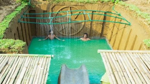 露天的地下泳池真霸气,水帘洞的制作简直太有才,网友:竟还有滑滑梯!