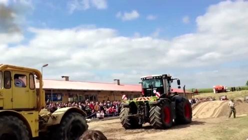 大型拖拉机之间的拔河赛,这动力太狂暴了