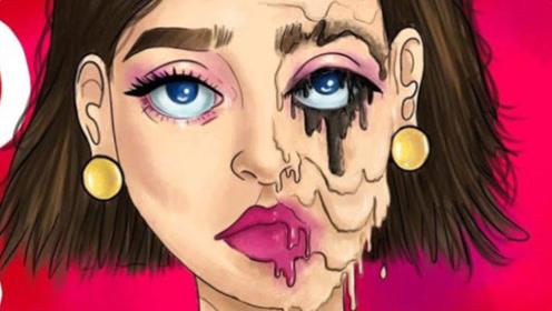 漂亮女孩深受同学喜欢,谁知洗手间补妆后,脸上却发生惊人变化