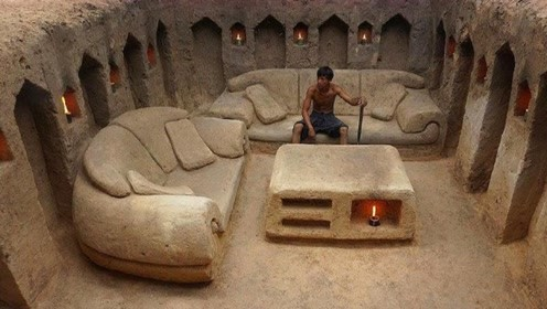 国外野人徒手制作豪华地下王国,不用任何材料,茶几沙发应有尽有