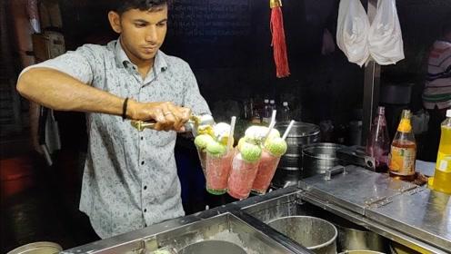 """印度版的""""雪顶奶茶"""",一杯能吃出5种口味,简直是孩子最爱呀"""