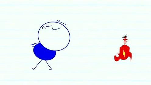 创意搞笑简笔动画,小虫戏耍铅笔小人,他竟没脾气地灰溜溜走了