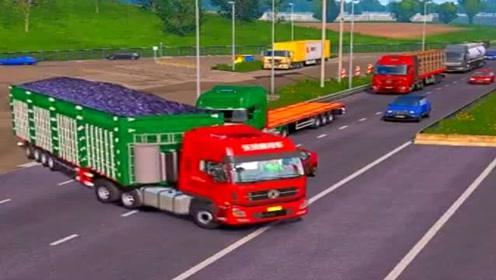 模拟驾驶大货车长途送货,场景太真实了,老司机也不敢这么开!