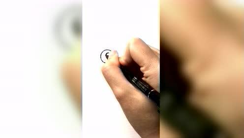 手绘,黑点变熊猫