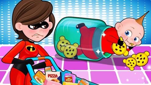 男孩为了偷吃零食,和妈妈在超市捉迷藏,结果想吃太多暴露了!