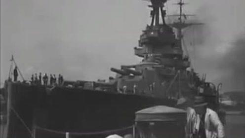 """英国皇家海军,复仇级战列舰""""复仇""""号离港"""