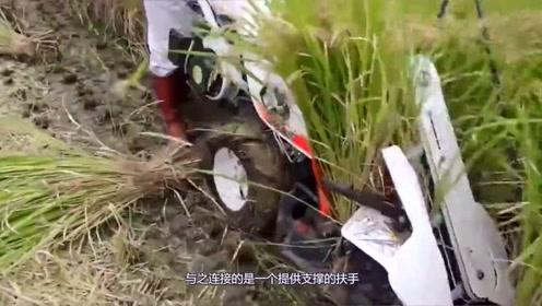日本大学生,发明了水稻收割机,收割和捆绑一次成型,真是厉害!