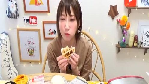 日本大胃王吃香脆的烤芝麻面包