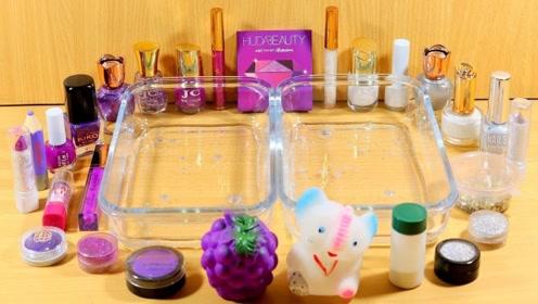 创意史莱姆教程,解压透泰+大盒眼影+彩色亮粉+指甲油,效果很赞!
