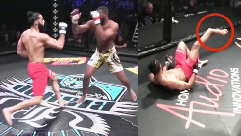 短短20秒就断了小腿,这位拳手职业生涯基本到头了!