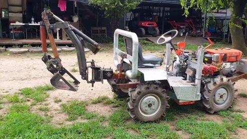 真牛!农民大叔将拖拉机改造成挖掘机,这手艺太好了
