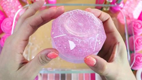 粉色系无硼砂史莱姆,亮晶晶史莱姆+玫瑰花彩泥,超漂亮的颜色,暖心解压