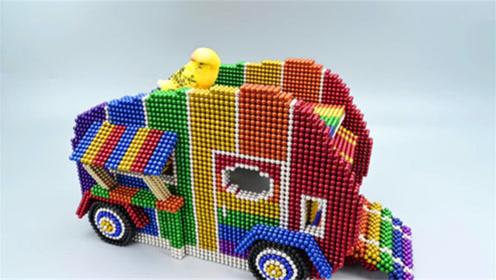 如何用磁力巴克球组装大象形状外卖车?意巴克球教程,超漂亮呢