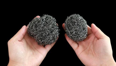 钢丝球用脏了不要扔,不用洗洁精,钢丝球洗得洁净如新不留油污