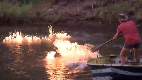 这里的河水遇到火就会燃烧,用水泼都泼不灭,这是怎么回事?