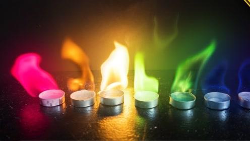 老外用特殊材料自制七色火焰,燃烧时简直太美了!