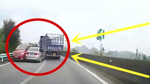 任性司机强行超车,不到1秒报应来了,监控回放大快人心!
